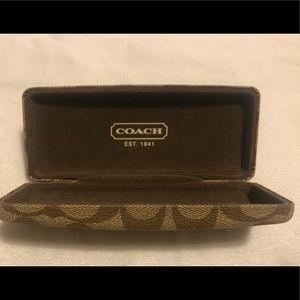 COACH Hard Eye Glass Case  signature Logo Tan
